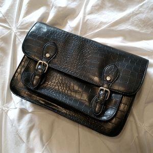 Black croc crossbody handbag
